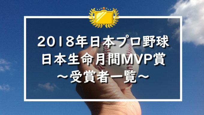 2018年日本プロ野球月間VMP受賞者一覧